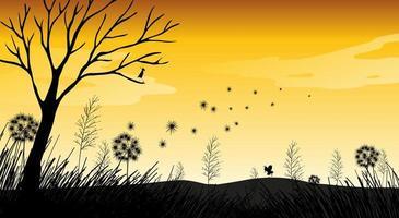 Outdoor nature silhouette sunset scene vector