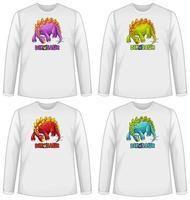 conjunto de pantalla de dinosaurio de diferentes colores en una camiseta de manga larga
