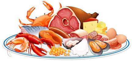 Alimentos frescos o grupos de proteínas alimentarias, como carne, mariscos, huevos y nueces en un grupo aislado sobre fondo blanco.