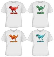 Set of different colour dinosaur screen on t-shirts vector