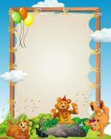 Plantilla de marco de madera de lienzo con beas en tema de fiesta sobre fondo de bosque