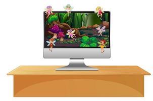 Pixie fairy on computer screen vector
