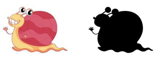 Conjunto de personaje de dibujos animados de caracol y su silueta sobre fondo blanco.