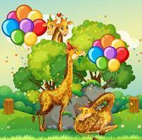 Muchas jirafas en el tema de la fiesta en el fondo del bosque de la naturaleza vector