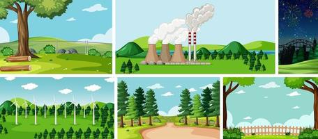 Six nature scenes with different locations vector