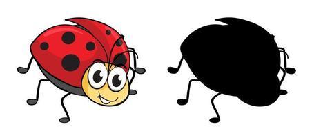 Conjunto de personaje de dibujos animados de insectos y su silueta sobre fondo blanco.