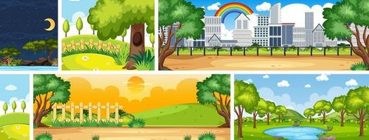 Conjunto de diferentes escenas de lugares de la naturaleza en escenas verticales y del horizonte durante el día y la noche.