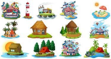 Conjunto de diferentes bangalows y tema de playa de la isla y parque de atracciones aislado sobre fondo blanco.