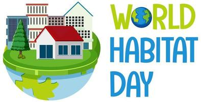World Habitat Day icon logo with towns or city on globe vector