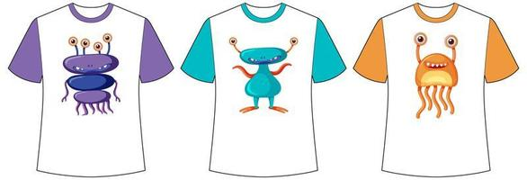 Set of different colour cute monsters or aliens screen on t-shirts vector
