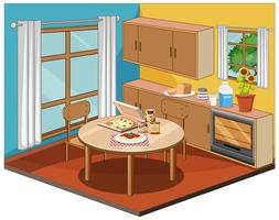 Dining room interior with furniture