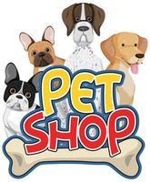 Logotipo de cuidado de mascotas o banner con perros lindos sobre fondo blanco. vector