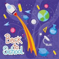 Rocket and icon set of back to school