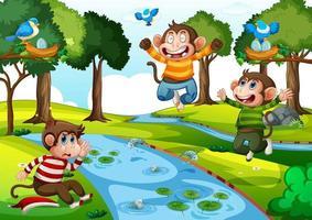 Three little monkeys jumping in the park scene vector