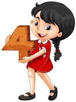 niña asiática sosteniendo matemáticas número cuatro vector