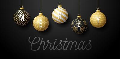 Banner de promoción horizontal de Navidad de lujo con adornos de bolas vector