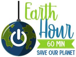 Earth Hour campaign poster or banner turn off your lights for our planet 60 minutes vector