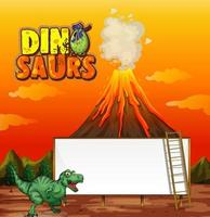 A dinosaur banner template in nature scene vector