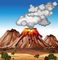 Volcano eruption in nature scene at daytime