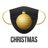 bola de navidad dorada realista con mascarilla médica desechable