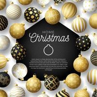 tarjeta de casa de feliz navidad de lujo con adornos de bolas ornamentales
