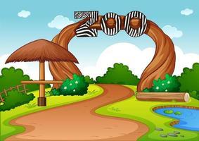 Empty zoo in nature scene