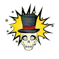 cráneo de halloween pop art con sombrero de copa vector