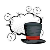 Pop art Halloween magician top hat vector