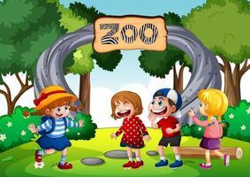 niños en la escena del zoológico vector