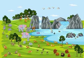 Wild life or wild animal in nature scene vector