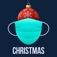 bola de navidad roja realista con mascarilla médica desechable