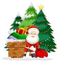 Santa en chimenea con muchos regalos sobre fondo blanco.