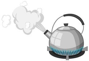 Hervidor de acero inoxidable con agua hirviendo en la estufa estilo de dibujos animados aislado sobre fondo blanco.