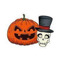 calabaza de halloween y calavera vector