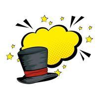 sombrero de copa de mago de halloween pop art vector