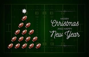 Christmas tree made by american football on field vector