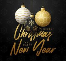 Christmas and New Year poster with Christmas ball ornaments vector