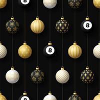 adornos navideños colgantes y bola de billar de patrones sin fisuras vector