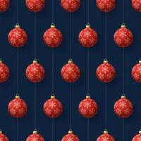 Christmas hanging red snowflake ornaments seamless pattern vector