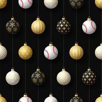 adornos navideños colgantes y patrones sin fisuras de béisbol