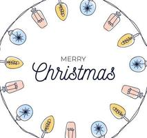 marco de círculo de bombillas de navidad dibujadas a mano