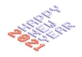 feliz año nuevo 2021 tipografía isométrica
