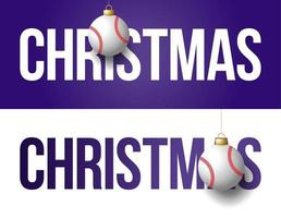 pancartas navideñas con adornos de béisbol