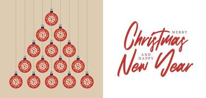 Flat Covid ornaments Christmas and new year greeting card vector