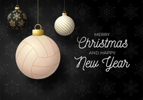 Holiday card with ball ornaments and volleyball vector