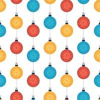 Christmas coronavirus seamless pattern colorful balls on white vector