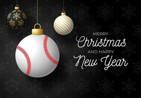 Holiday card with ball ornaments and baseball vector