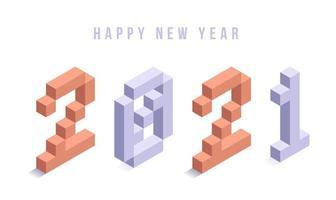 Happy New Year 2021 isometric typography vector