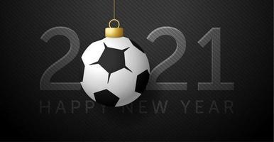 Tarjeta de año nuevo 2021 con adorno de fútbol o fútbol.