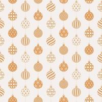 Christmas seamless pattern with golden and white balls vector